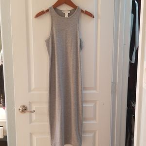 Grey midi bodycon dress